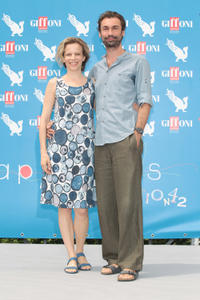 Sonia Bergamasco and Fabrizio Gifuni at the 2012 Giffoni Film Festival photocall.