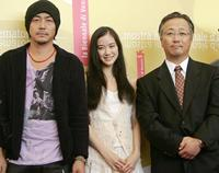 Joe Odagiri, Yu Aoi and director Otomo Katsuhiro at the photocall of