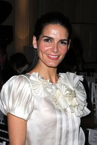 Angie Harmon at the Oscar De La Renta 2008 fashion show during the Mercedes-Benz Fashion Week Fall 2008.