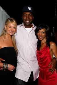 Nancy O'Dell, John Salley and Shaun Robinson at the birthday party at Blu Beverly Hills.