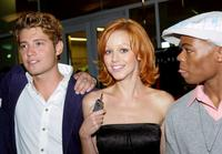 Julian Morris, Lindy Booth and Paul James at the premiere of
