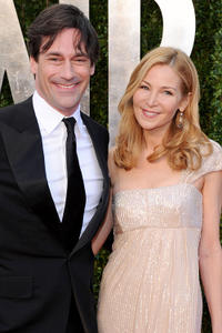 Jon Hamm and Jennifer Westfeldt at the Vanity Fair Oscar party.