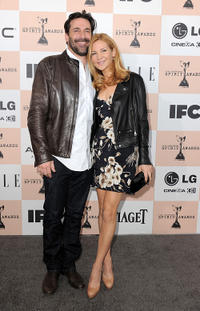 Jon Hamm and Jennifer Westfeldt at the 2011 Film Independent Spirit Awards.