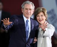 George W. Bush and Mrs. Laura Bush at the Welcome Home Celebration Tuesday.