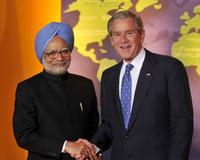 Dr. Manmohan Singh and George W. Bush at the Summit on Financial Markets and the World Economy.
