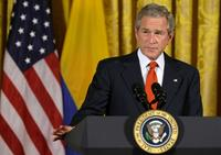 President George W. Bush at the East Room event in honor of Colombian Independence Day.