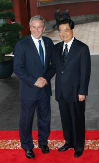President George W. Bush and President Hu Jintao at the Beijing 2008 Olympic Games.