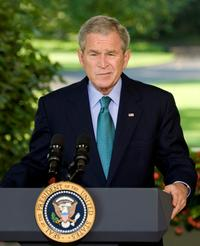 President George W. Bush at the Oval Office at White House.