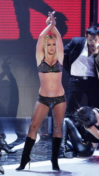 Britney Spears performs onstage during the MTV Video Music Awards in Las Vegas.