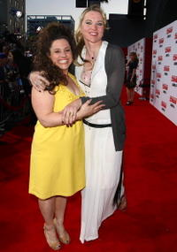 Marissa Jaret Winokur and Lucy Lawless at the premiere of