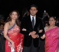 Aishwarya Rai Bachchan, Abhishek Bachchan and Jaya Bachchan at the Awards ceremony in Mumbai.