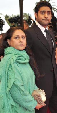 Jaya Bachchan and Abhishek Bachchan at the screening of