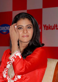 Kajol at the press conference to unveil the Japanese probiotic drink Yakult in Mumbai.