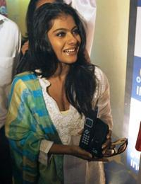 Kajol at the launch of a cordless phone at Tata Indicom outlet.