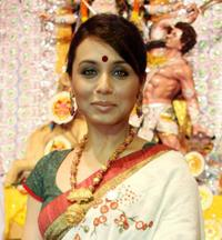 Rani Mukherjee at the Durga Puja Pandal in Mumbai.