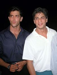 Hrithik Roshan and Shahrukh Khan at the Diwali celebration organised by the Bombay Police.