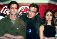 Hrithik Roshan, Jackie Shroff and Kareena Kapoor at the press conference in Calcutta.