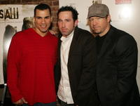 Franky G., Darren Lynn Bousman and Donnie Wahlberg at the DVD release party for the special uncut edition of