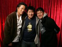 Kang Sung, director Michael Kang and Jeffrey Chyau at the 2005 Sundance Film Festival.