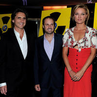 Lawrence Bender, Jeff Skoll and Lucy Walker at the premiere of