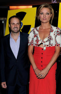 Jeff Skoll and Lucy Walker at the premiere of