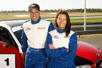Kelly Slater and Layne Beachley at the Celebrity Challenge Driver Training event.