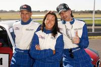 Kelly Slater, Layne Beachley and Marcus Schenkenberg at the Celebrity Challenge Driver Training event.