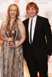 J.K. Rowling and Rupert Grint at the 2011 Orange British Academy Film Awards in England.