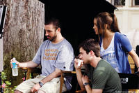 Director Joe Nussbaum, Matt Long and Amanda Bynes on the set of