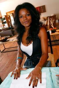 Keesha Sharp at the Green Bliss EcoSpa display during the Green Living gifting lounge.