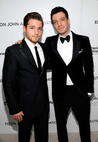 Shawn Pyfrom and JC Chasez at the 18th Annual Elton John AIDS Foundation Academy Award party in California.