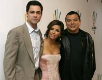 Daniel Pino, Eva Longoria and Carlos Mencia at the NCLR ALMA Awards Nominee Announcements.