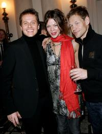 Roman Knizka, Jessica Schwarz and Steffen Wink at the Dom Perignon Salon party during the 57th Berlin International Film Festival.