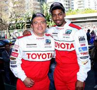 Carlos Mencia and Fonzworth Bentley at the celebrity race practice session.
