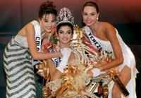 Carolina Gomez, Sushmita Sen and Minorka Mercad at the 1994 Miss Universe Contest.