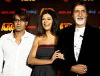 Ajay Devgan, Sushmita Sen and Amitabh Bachchan at the promotion of