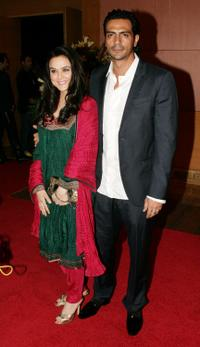 Preity Zinta and Arjun Rampal at the Bollywood party in Mumbai.