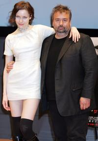 Director Luc Besson and Rie Rasmussen at the press conference to promote
