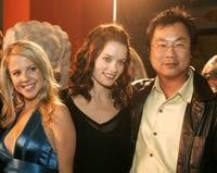 Chelan Simmons, Gina Holden and James Wong at the premiere of