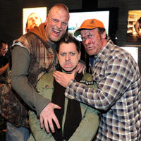 Brett Wagner, makeup designer Robert Hall and Thomas Rounds at the California premiere of