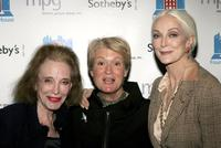 Helen Gurley Brown, Anne Mai and Carmen Dell'Orefice at the auction of photographer Francesco Scavullo's work benefiting Fountain House.