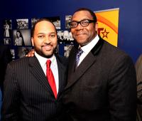 Michael D. Armstrong and Lenny Henry at the UK launch of Black Entertainment Television (BET).