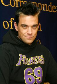 Robbie Williams at the news conference in Japan.