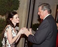 Edward Herrmann and Alexis Bledel at 'The Gilmore Girls' 100th episode celebration on the set at Warner Bros Studios.