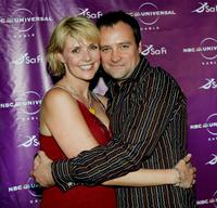 Amanda Topping and David Hewlett at the Sci-Fi Channel talent party.