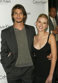 Trent Ford and Scarlett Johansson at the launch Party of Calvin Klein's new fragrance Eternity Moment.