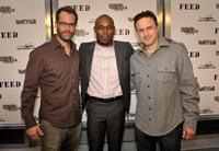 Josh Stamberg, Jimmy Jean-Louis and David Arquette at the FEED Foundation/Hungry In America project benefit hosted by Vanity Fair.