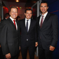 Guido Westerwelle, Michael Mronz and Wladimir Klitschko at the annual Bertelmann party 2011 in Germany.