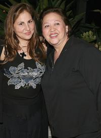 Kathy Najimy and Amy Hill at the VDAY West LA 2006 cocktail reception.