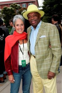 Joan Baez and Willie Brown at the filmmaker George Lucas's open house for his new Letterman Digital Arts Center.
